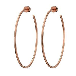 Michael Kors Rose Gold Tone Large Hoop Earrings